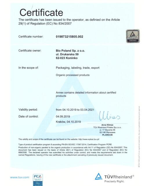 Organic Certiticate EN 2021-1